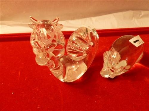 3 Steuben clear glass animals all marked- snail, pig