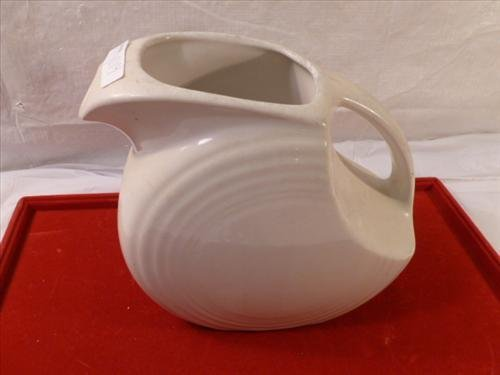 Fiesta ware white pitcher- 7 1/2 tall ring design on