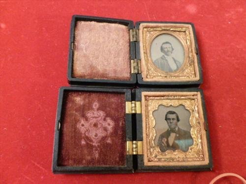 2 vintage tin types of men in cases- one with Indian