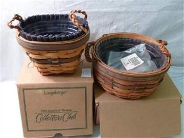2 Longaberger baskets- 1998-99- Renewal New in box