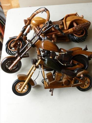 3  wood model Motorcycles- 3 sizes-nice details-12-15