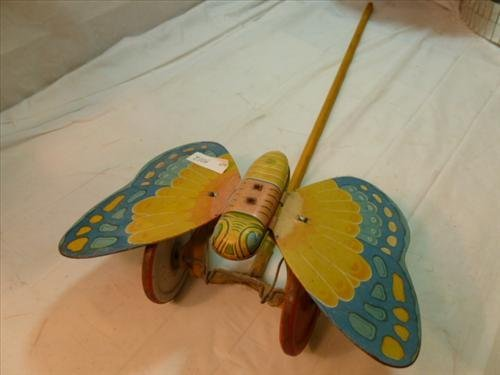 Chein litho push toy - butterfly with wood stick-