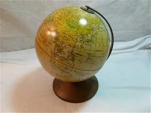 Tin world globe bank- 8 tall-City symbols -Replogle