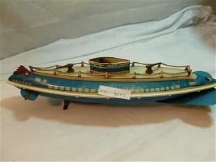 Wolverine wind up tin submarine toy- circa 1940's
