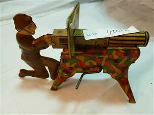 Wind up tin- Litho Army man with machine gun on stand-
