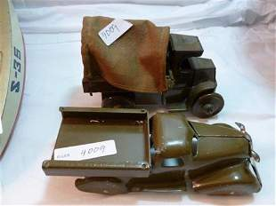 2 Army tin toys- Marx canvas cover Army truck and Army
