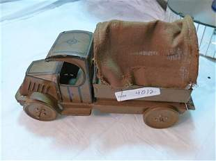 Chein tin litho Army truck- -Canvas top - Army brown