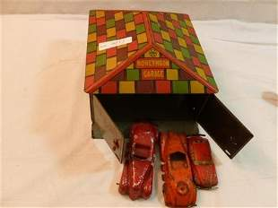 Marx tin litho Honey moon garage- with 3 metal cars