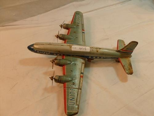Marx United Airlines- friction tin litho toy plane-11