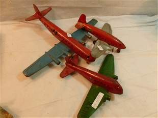 3 cast iron toy airplanes with wood wheels