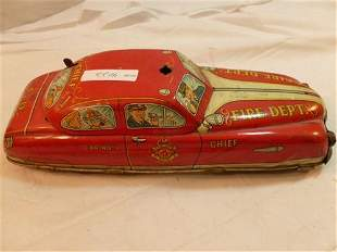 Marx tin litho Fire Chief car #1--wind up and battery