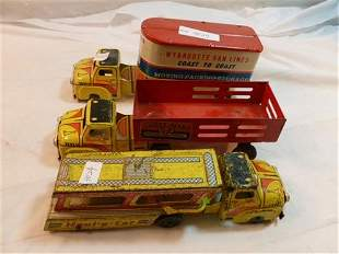 3 Wyandotte tin toy trucks- Van Lines- Haul a car- and