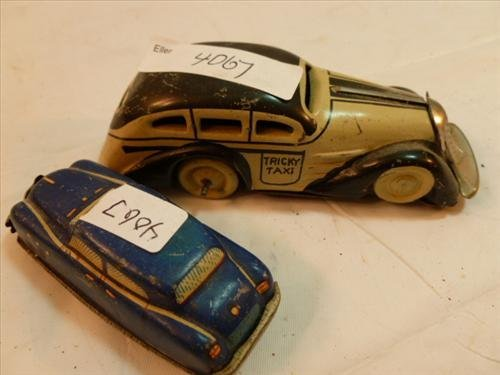 """2 pc Marx Tricky taxi- -4 1/4"""" and blue automatic toy"""