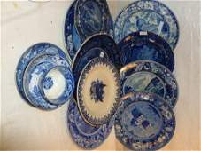 12 pc Blue-Staffordshire-plates saucers bowl cup- 1830c
