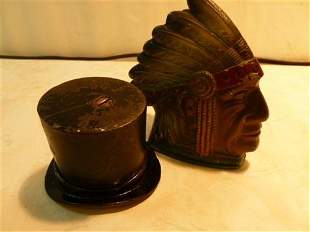 2 Cast Iron banks-= Pass around the hat and Indian Head