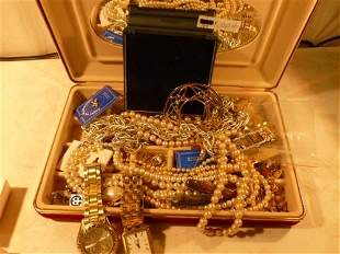 Nice Velvet box filled with assorted jewelry ,watches