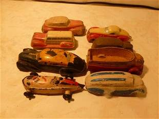 8 pc Sun RUBBER Cars and Trucks assorted colors and