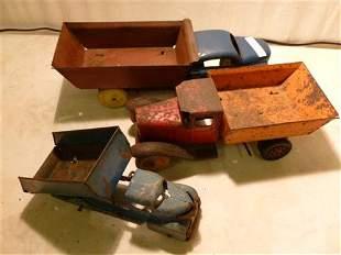 3 Marx Wyandotte dump trucks tipper tucks- red orange