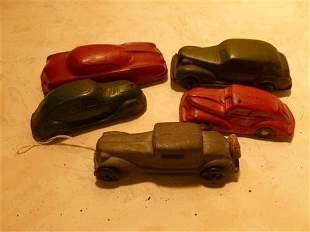 5 vehicles 4 rubber Auburn & 1 Arbor M&L car- red green