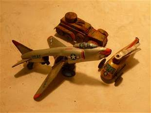 3 Wind Up and Friction tin toys- Japan-plane helicopter