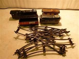 Marx Tin Litho train set with tracks- engine and 3