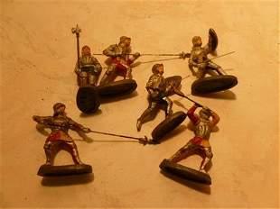 6 pc- Elastolin Composition knights figures- original