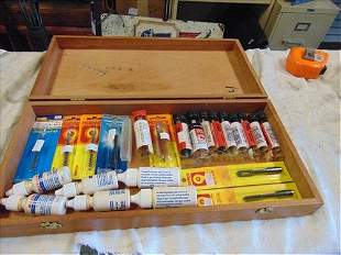 Wood Box with 30 set of assorted cleaning supplies