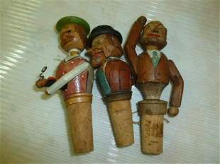 3 piece hand carved and painted Arni bottle stoppers