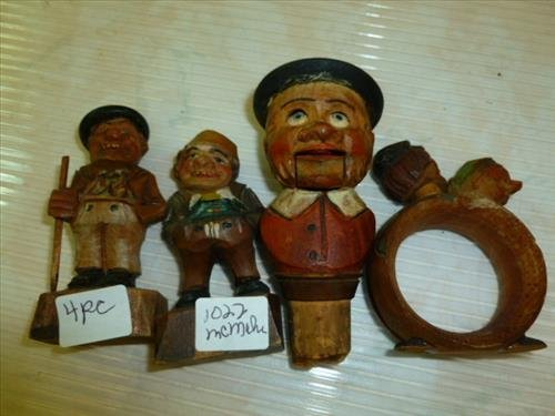 4 pc carved & painted wood figures napkin ring & bottle