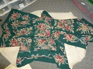 Green needle point with colored flowers home spun