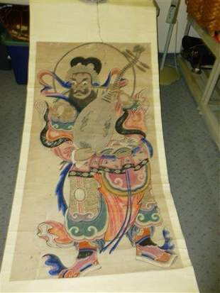 Large Chinese Scroll man with musical instrument
