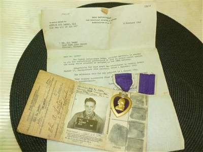 Purple Heart with ribbon-War Department paper 1946