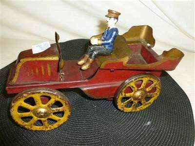 1920- friction pressed steel convertible car with