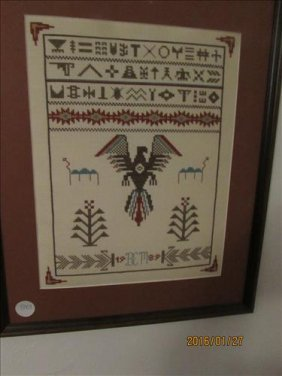 "American Indian Framed And Matted Needle Point 10"" X"