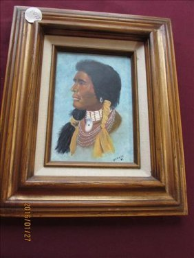 American Indian Painting On Board By Bernie - 1985