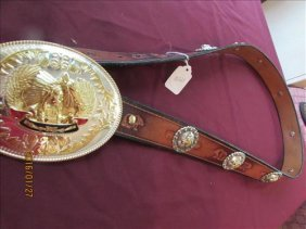 Rodeo Trophy Belt And Buckle - Bucking Broncos By Greg