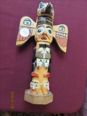 "Eskimo Totem Pole Hand Carved And Painted 10"" Tall"