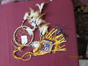 3 Pc - Dream Catcher, Spider Necklace And Beaded Pouch