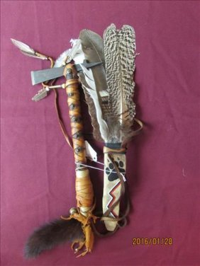 """Hand Made Prayer Fan 14"""" And Tomahawk With Leather"""