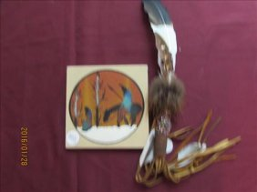 2 Pc - Navajo Painting Trail Of Tear By Alex Lee &