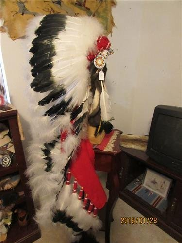 Chiefs Full Head Dress with Beaded Necklace and Stand