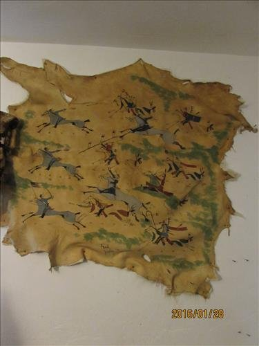 Hand Painted Deer Skin with Fur on Back by Frank Shorty