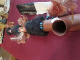 """Piece Pipe Beaded, Fur And Feather 31 1/2"""" Long"""