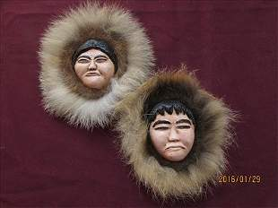 Pair of Eskimo Faces by Anaya in Alaska Wall Hanging