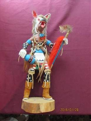 """Large Wolf Faced Kachina Doll by Dave J Nelson 18"""" Tall"""