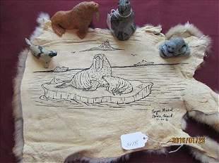 5 pc - Hand Painted Rabbit Skin, Walrus, 2 Seals &