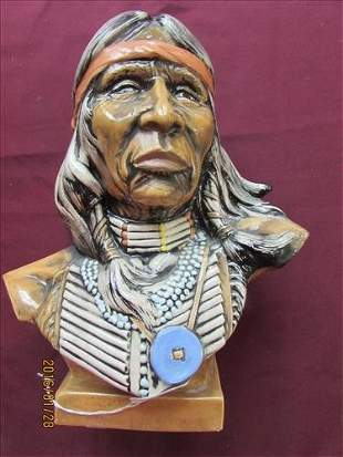 """Ceramic Indian Bust 11"""" tall x 8 1/2"""" wide"""