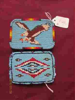 2 Hand Beaded Belt Buckles one with Eagle Design