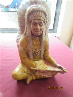 American Indian Chief With Peace Pipe Statue 12' Tall