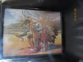 Print Of Indian Warrior Dancing Very Colorful